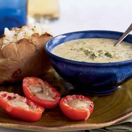 Cheesy Soup with Roasted Tomatoes Dinner