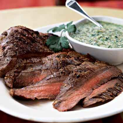 Flank Steak with Cilantro-Almond Pesto