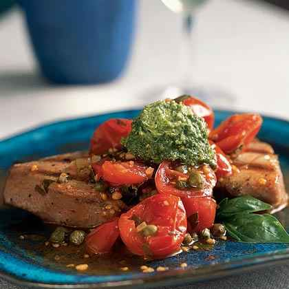 Grilled Tuna with Basil Butter and Fresh Tomato Sauce