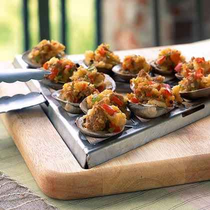 Grilled Clams with Sambuca and Italian Sausage