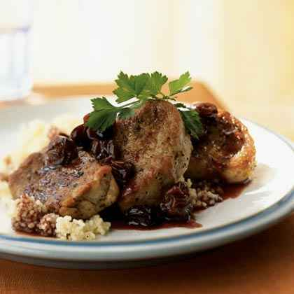 Pork Medallions with Port Wine-Dried Cherry Pan Sauce