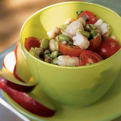 Cooked Shrimp: Edamame and Bean Salad with Shrimp and Fresh Salsa