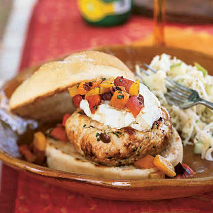 Turkey Burgers with Goat Cheese