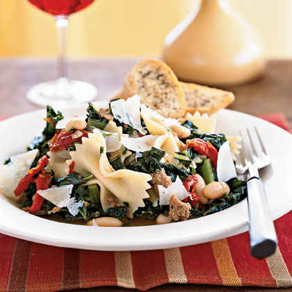 Farfalle with Sausage, Beans, and Kale
