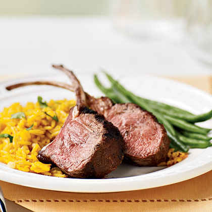 Grilled Rack of Lamb with Saffron Rice