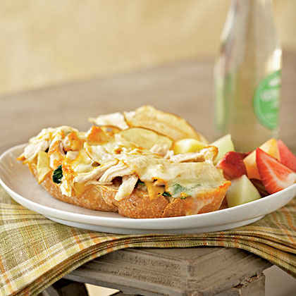 Open-Faced Chicken and Muenster Sandwiches