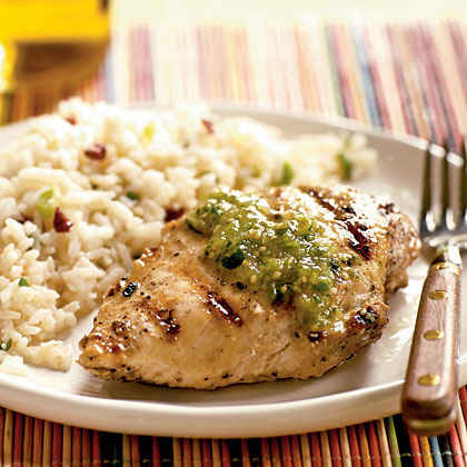 Grilled Cumin Chicken with Fresh Tomatillo Sauce Menu