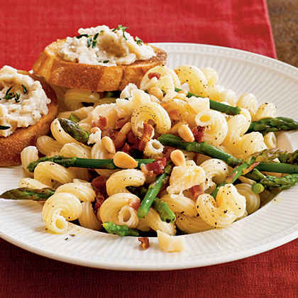 Pasta with Asparagus, Pancetta, and Pine Nuts Menu