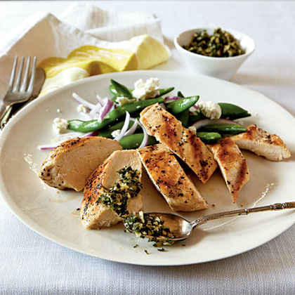 Grilled Chicken with Mint and Pine Nut Gremolata Menu