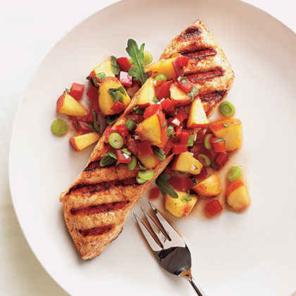Grilled Halibut with Peach and Pepper Salsa