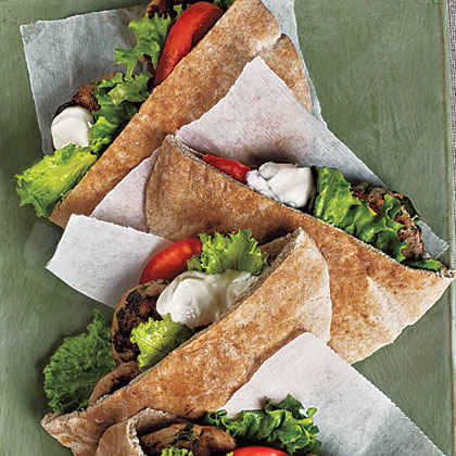 Turkey Burger Pitas with Tahini Sauce