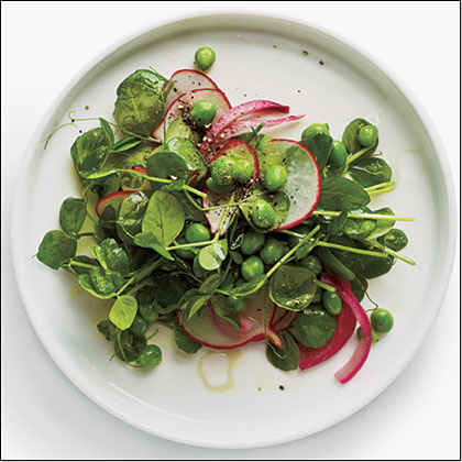 Pea Shoot Salad with Radishes and Pickled Onion