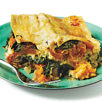 Butternut Squash, Caramelized Onion, and Spinach Lasagna