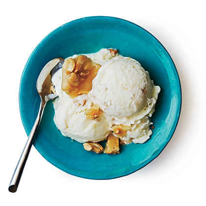 Tangy Ice Cream with Cashew Brittle