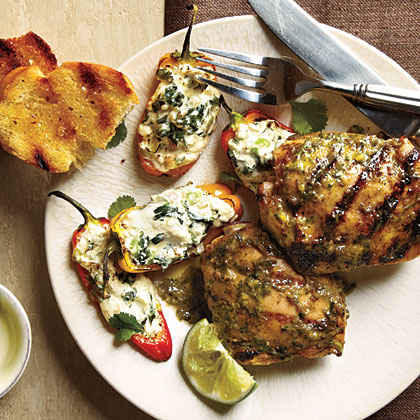 Jerk Chicken and Mini Stuffed Bell Peppers