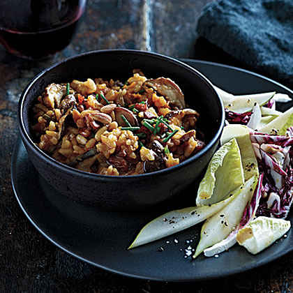 Pumpkin-Shiitake Risotto with Pancetta and Pine Nuts