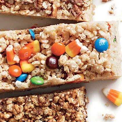 Candy Corn and M&M's Chewy Crispy Bars