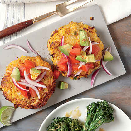Sweet Potato and Chickpea Cakes with Avocado Salsa