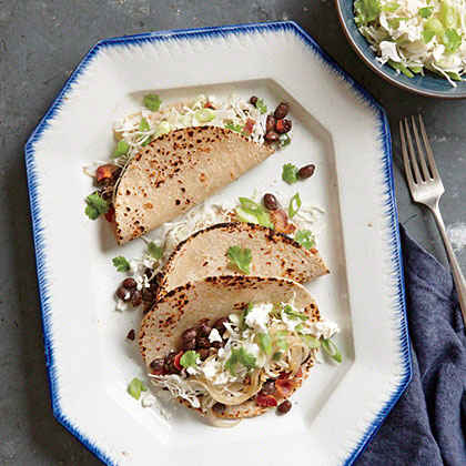 Black Bean Tacos with Feta Slaw