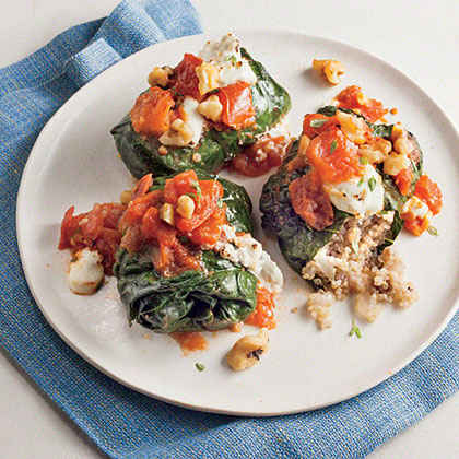 Quinoa-Stuffed Kale Rolls with Goat Cheese