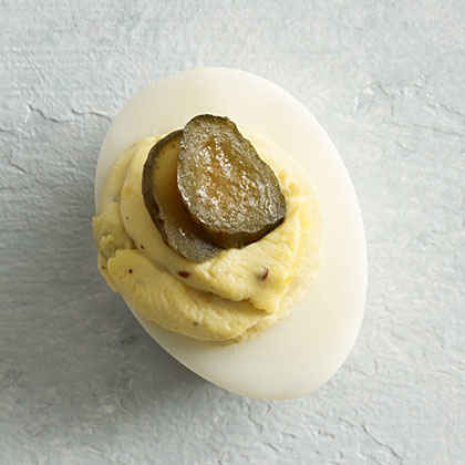 Pickle and Jalapeño Deviled Eggs
