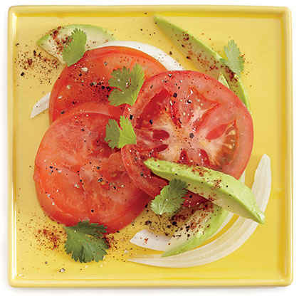 Tomato Salad with Avocado and Onion