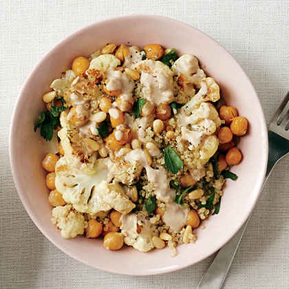 Cauliflower and Chickpea Quinoa with Tahini Drizzle