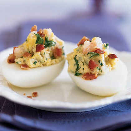 Shrimp and Bacon Deviled Eggs