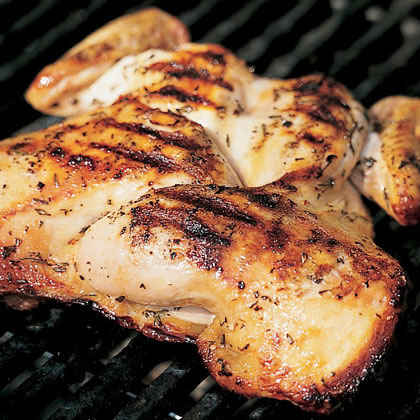 Grilled Split Chicken with Rosemary and Garlic