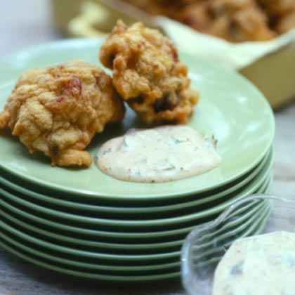 Crawfish-Eggplant Beignets with Remoulade Sauce