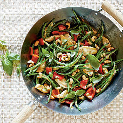 Basil, Chicken, and Veggies in Coconut-Curry Sauce