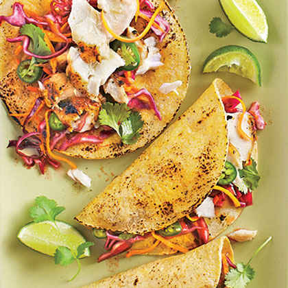 Grilled Fish Tacos with Jalapeño-Cabbage Slaw
