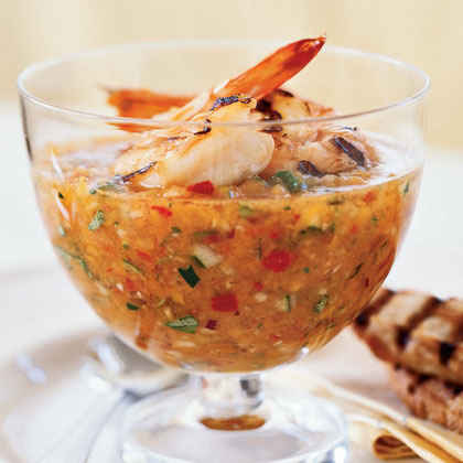 Spain: Grilled Shrimp Gazpacho