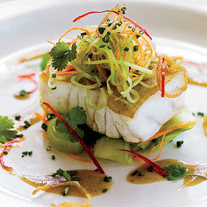 Grouper with Cucumber Salad and Soy-Mustard Dressing