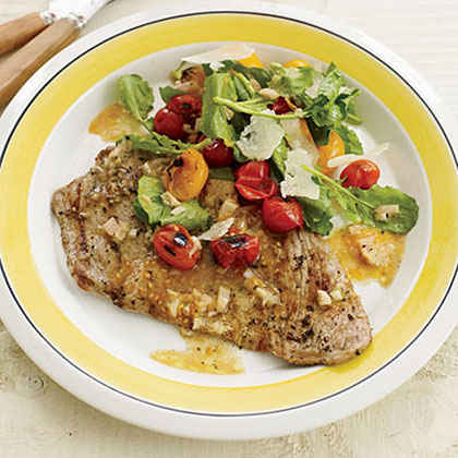 Veal Scallopine with Charred Cherry Tomato Salad