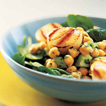 Grilled Scallops with Lemon-Chickpea Salad
