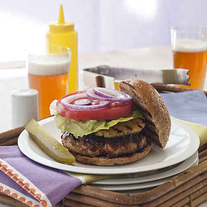 Hawaiian Turkey Burgers With Pineapple-Papaya Sauce