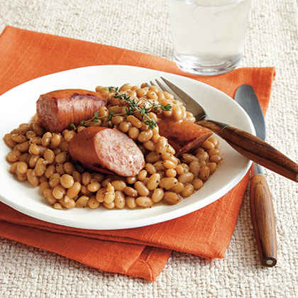Tiny French Beans with Smoked Sausage