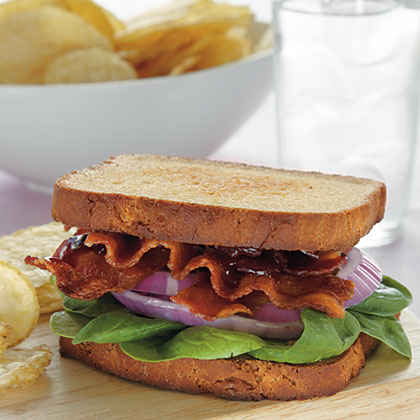 Bacon, Spinach, and Red Onion Sandwiches with Raspberry-Chipotle Mustard