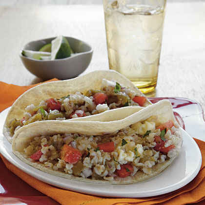 Soft Tacos with Green Chile–Cilantro Rice and Egg