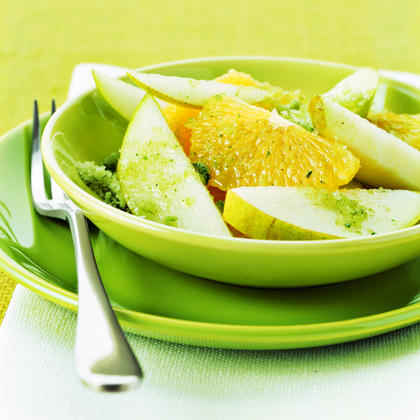 Sliced Oranges and Pears with Mint Sugar