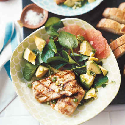 Grilled Mahimahi with Grapefruit, Avocado, and Watercress Salad