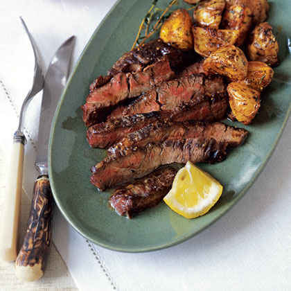 Skirt Steak with Lemon- and Chili-Roasted Potatoes