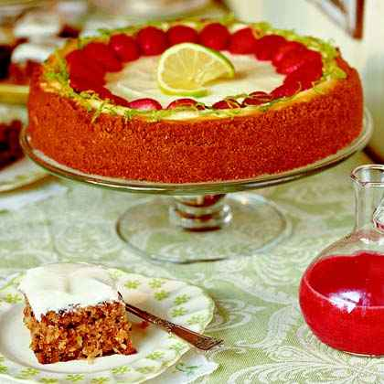 Key Lime Cheesecake with Strawberry Sauce