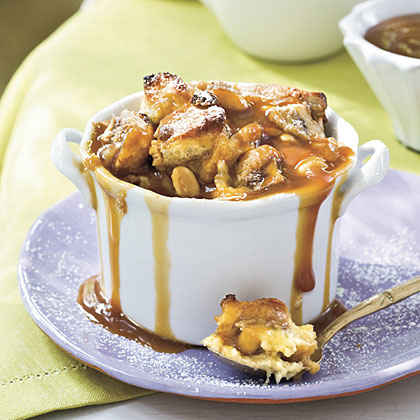 Peanut Butter-Banana Sandwich Bread Puddings With Dark Caramel Sauce