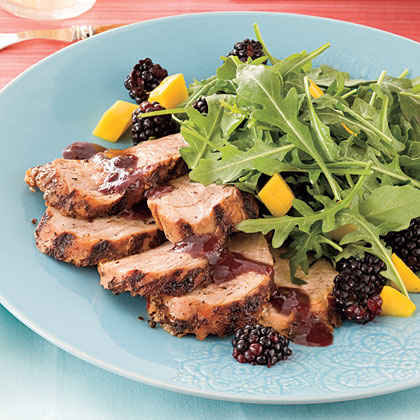 Spicy Grilled Pork Tenderloin with Blackberry Sauce