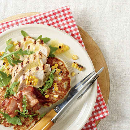 Grilled Chicken with Corn Cakes