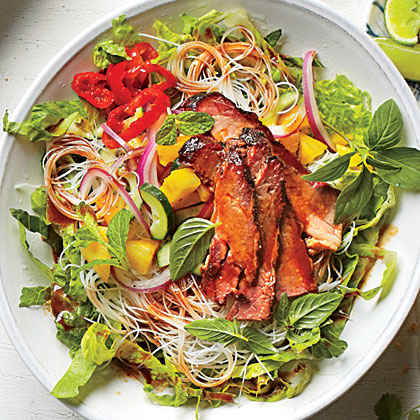 Brisket and Rice Noodles with Pineapple Salsa