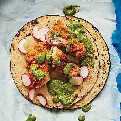 Fried Chicken Tacos with Buttermilk-Jalapeño Sauce