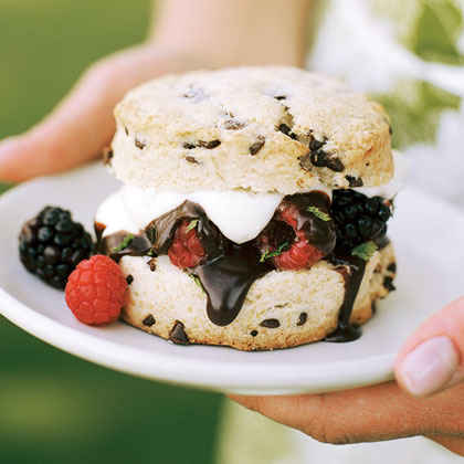 #10: Chocolate-chip Shortcakes with Berries and Dark Chocolate Sauce
